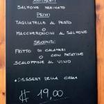 Menu bzw. italienische Speiskarte